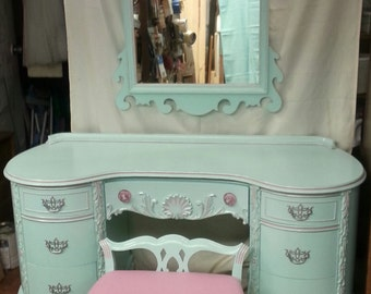 Circa 30s RARE Antique Chippendale Vanity Aqua Blue pink Silver Ornate Salvaged Shabby Chic Dressing Table Distressed Refinished WHAGN
