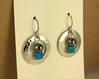 Small Silver Hoop with Turquoise Cube