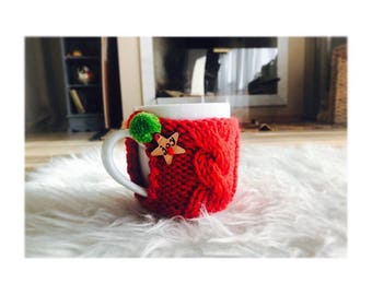 Handmade Knitted Cup Warmer; Artisanal gifts, knits, winter gift, christmas