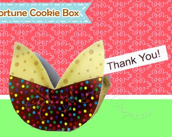Fortune Cookie Favor Box - Chocolate Cookie, Treat Box, Printable favor box, Party favors - INSTANT DOWNLOAD - Paper Art by Marlene Campos