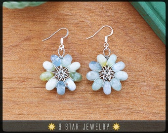 Natural Aquamarine Radiant Star Earrings w/ 925 Sterling Silver Hooks - Baha'i 9 Pointed Star Wire-wrapped Dangle Earrings - BRSE35