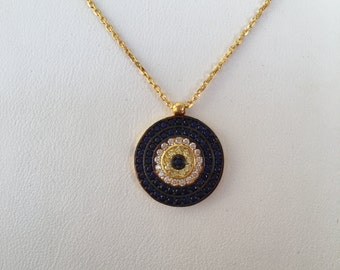Eye Necklace, Gold Plated 925 Sterling Silver and Cubic Zirconia • Safe to Wet • You'll Love The High Quality on This Beautiful Eye Necklace