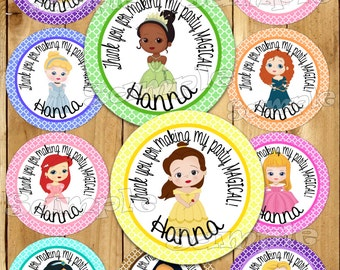 Princess Birthday stickers Party favor tags Thank you tag Gift tag Cupcake toppers Princess tags Birthday Party label Personalized PRECUT