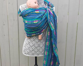 Baby sling, Teal Woven Ring Sling, baby carrier, Limited edition, SALE