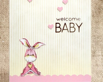 Welcome Baby Card- Baby Cards- Baby Shower Card- Baby Girl Card- New Baby- New Mom Card
