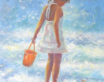 Beach Girl Art Print, figure, girls room, beach paintings, prints, ocean, children, little girl, shelling, seascape, Vickie Wade Art