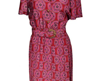 Vintage Leslie Fay Pleated Skirt Shirt Dress