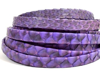 10mm Genuine Python Skin - Purple - Choose Your Length