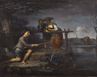 Carel de Moor (II): The Angler. Fine Art Print/Poster. (004033)