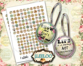 Digital collage sheet I THINK 16mm 14mm circle images earring size - for ring romantic quote digital jewelry - instant download - tn304