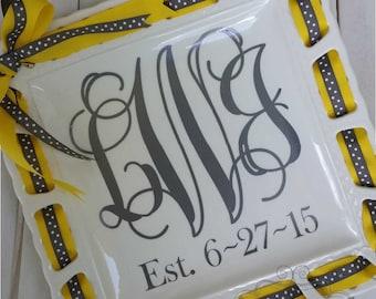 "Monogram Square Ribbon Plate platter 9"" or 12"""
