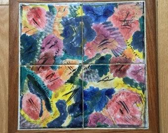 Large 15 X 15 inch handcrafted oak framed ceramic trivet. 4 Hand painted ceramic tiles framed in oak. Wall decor or large kitchen pot stand.