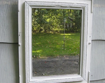 Medium White Rustic Mirror