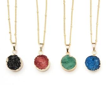 Natural Druzy Pendant Necklace - Gold Druzy Necklace - Raw Gemstone Necklace - Gold Edged Druzy Crystal Necklace - Boho Gemstone Necklace