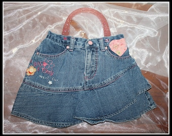 Denim Laugh and Play Up-Cycled Skort Purse, Skort Purse, Faded Glory Skort Purse, Pink Glitter Handle Purse, Fun Heart Purse, Valentines Day