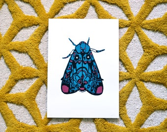 The Moth | A4 Original Screenprint | 3 Colours