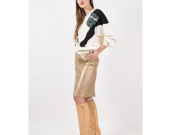 Vintage gold leather pencil skirt / 1980s metallic butter soft leather / High waist knee length skirt / M