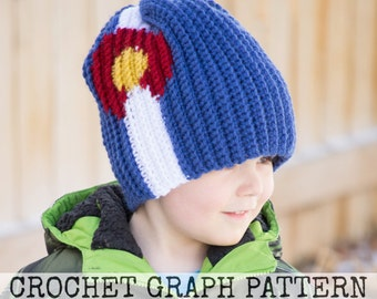 CROCHET GRAPH - Colorado Flag Color Grid for Crochet or Knit Beanies