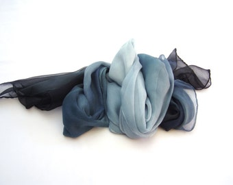 Silk scarf hand painted ombre blue black mousseline long gift for mom gift ideas bridesmaid