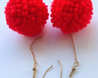 Red Pom Pom and Chain Earrings