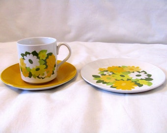 Vintage 70s Kerrydale Yellow Flower Tea Cup, Saucer & Dessert Plate, Made by Johnson Bros, England, Ironstone