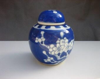 Vintage Chinese Cobalt Blue & White Prunus Blossom Themed Covered Ceramic Jar