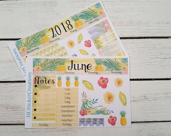 Happy Planner June Monthly, Pineapples, June, Summer, Tropical