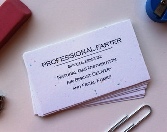 Personalized first name business card funny business cards professional farter funny business cards boxed set of 50 your choice color colourmoves
