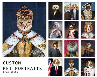 Custom Pet portrait, Personalized Dog portrait, Cat portrait from photo, Custom Gift Royal King Queen funny pets clothes DIGITAL FILE