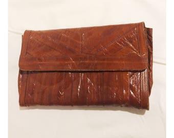 Vintage Brown Eel Skin Clutch