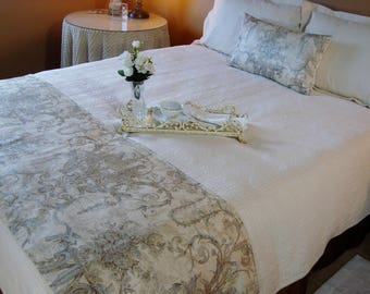 Bed Runner, Bed Scarf, Bedding, Damask Queen Bed Scarf Metallic Damask Bed Runner Silver Metallic Damask Bed Scarf