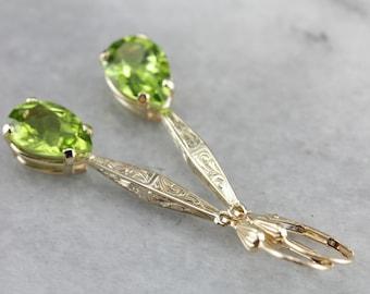 Teardrop Peridot Drop Earrings, Long Earrings, Green Stone Earrings, Upcycled Jewelry FEYD1RUN-C
