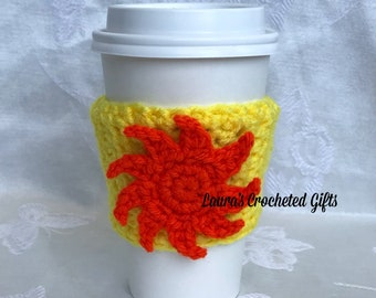 Coffee Cup Cozy, Crochet Coffee Sleeve, Reusable Yellow Coffee Cozy, Orange Sun Coffee Cozy, Handmade Crochet Coffee Cozy, Sun Coffee Cozy