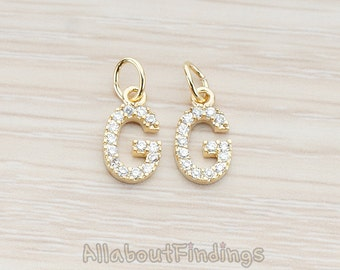 PDT150-G-G // Glossy Gold Plated Cubic Zirconia Setting Initial Pendant, 1Pc