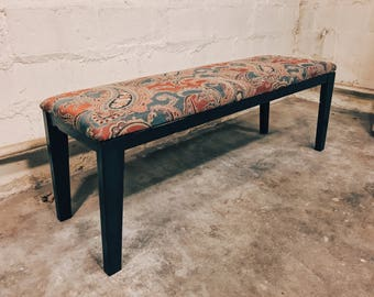 Upholstered Paisley Piano Bench