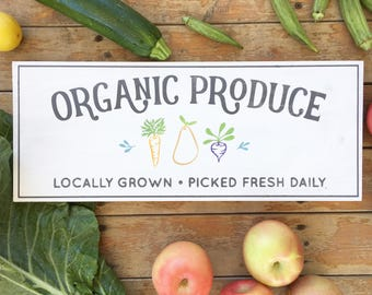 Produce Sign | Hand Painted Wood Sign | Kitchen Sign | Kitchen Decor | Vintage Kitchen Sign | Organic