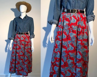 Vintage maxi skirt / 90s skirt / long skirt / summer skirt / cotton skirt / high waisted skirt / elastic waist skirt / made in usa