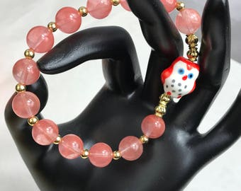 Owl Orange And Gold Beaded Stretch Bracelet New Gift