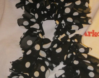 BLACK with WHITE POKADOT Polyester Scarf