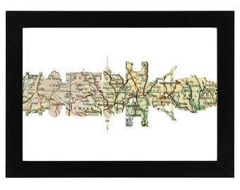 Oslo Skyline Print with vintage map