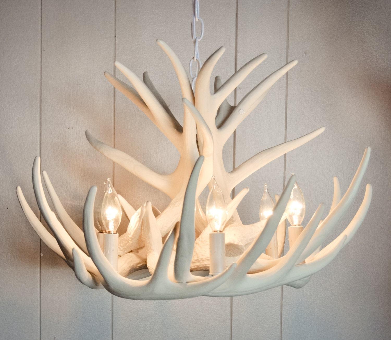 White antler chandelier faux antler chandelier w9c antler zoom aloadofball Choice Image