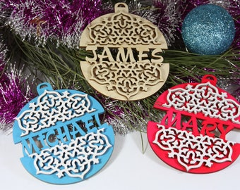 Personalized Set of 3 wooden Christmas tree  ornaments, Decorations with your names!