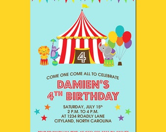 Big Top Circus Birthday Party Invitation DIGITAL FILE