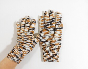 Hand Knitted Gloves - White, Brown and Dark Brown, Large