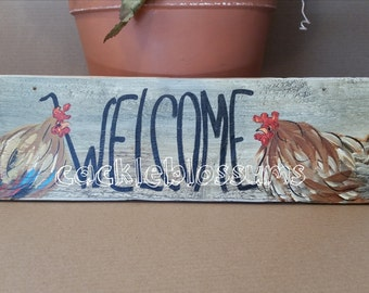 "5.5"" X 21""  #220 Rooster and Chicken Art Sign Folk Art Chickens Original Painting"