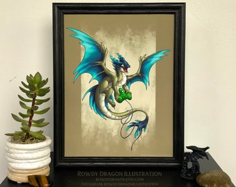 Video Game Dragon Print 8.5x11
