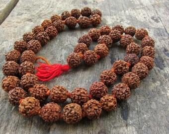 Rudraksha Mala Necklace Yoga Necklace 54 beads Meditation Necklace 10mm Healing Buddhism Shiva Beads Indian Seeds Holy Meads Prayer Beads