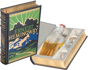 Mini-Bar Hollow Book with Flask & Shot Glasses - Ernest Hemingway (Leather-bound) (Magnetic Closure) (Custom-Etched)