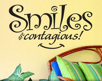 Office Wall Decal - Smiles Are Contagious Wall Words, Smile Sign, Vinyl Wall Decal, Funny Decal, Funny Wall Saying Vinyl Saying Wall Sticker