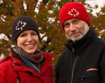 Unisex Toque with Maple Leaf - warm felted wool winter hat Canada hat beanie